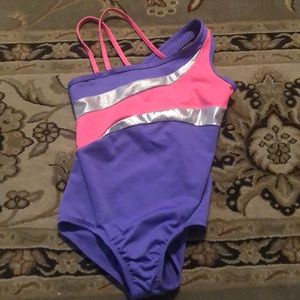 Dance outfit, pink, purple and silver. Back Cutout